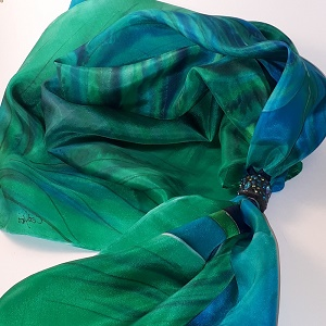 Hand painted silk scarf square shape