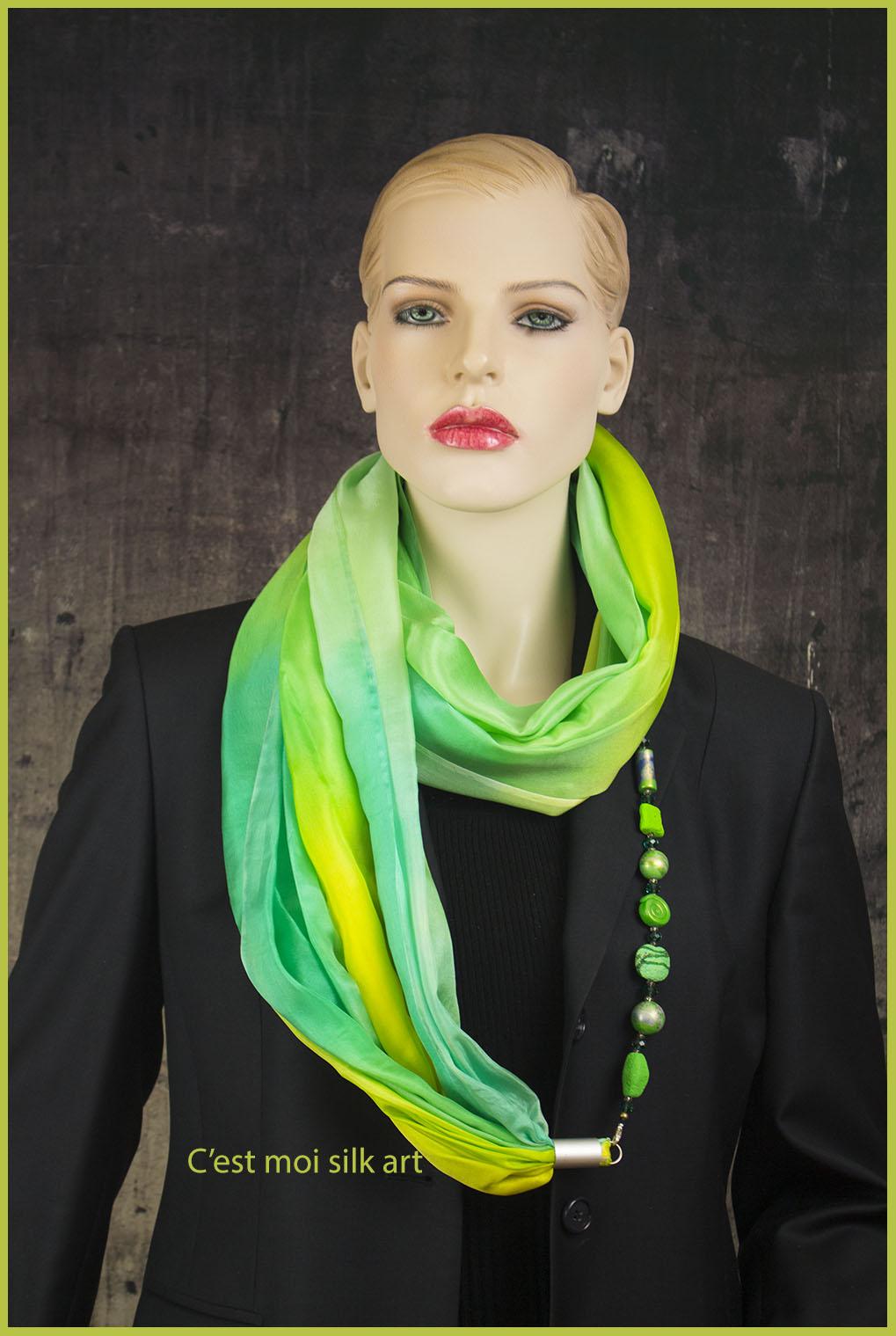 selyem kőrsál ékszerrel tavaszi pasztell zöld 02