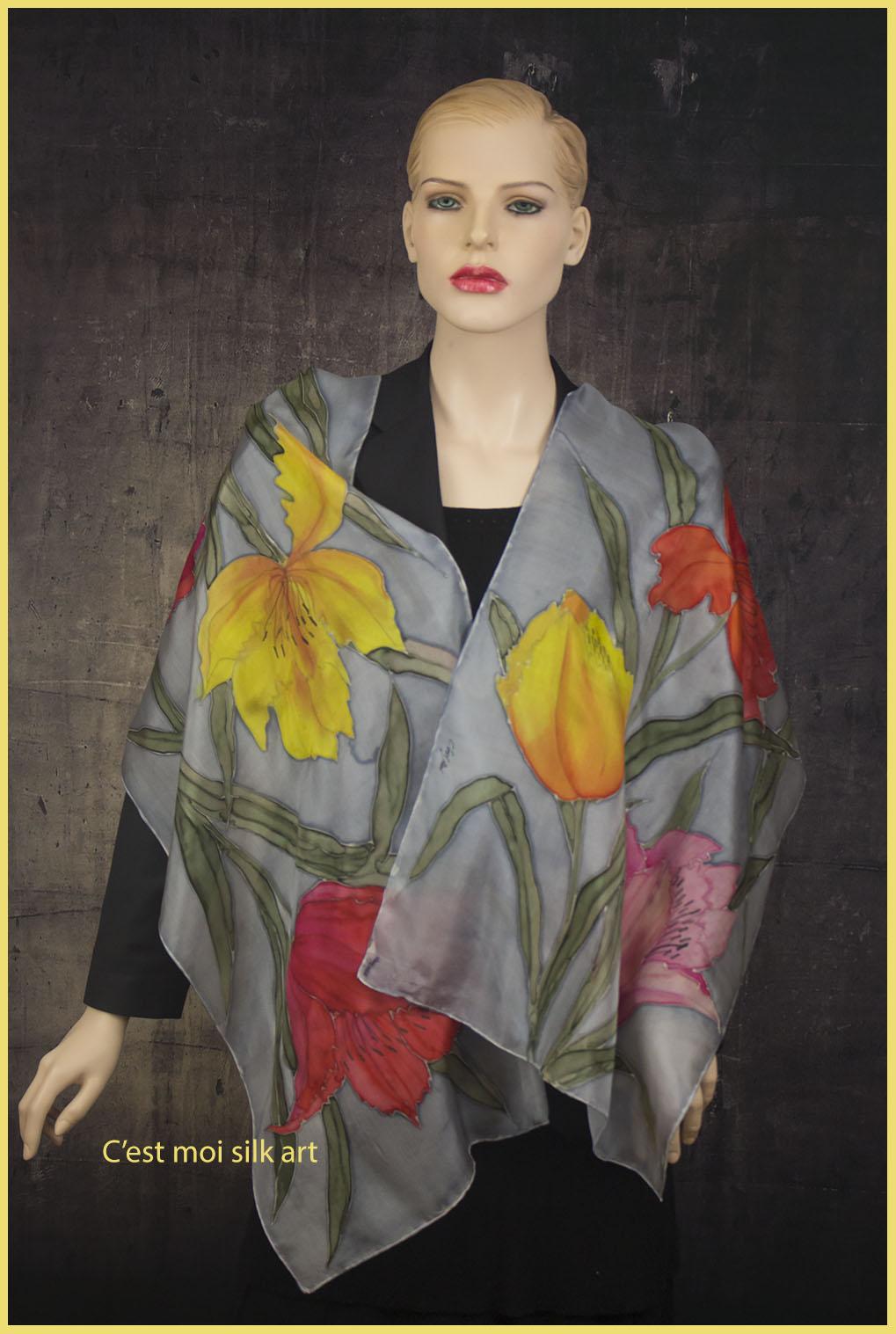 selyem sál tavaszi tulipánokkal 06