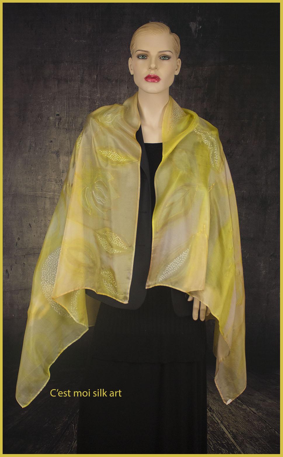 selyem sál sárga spirálokkal 01