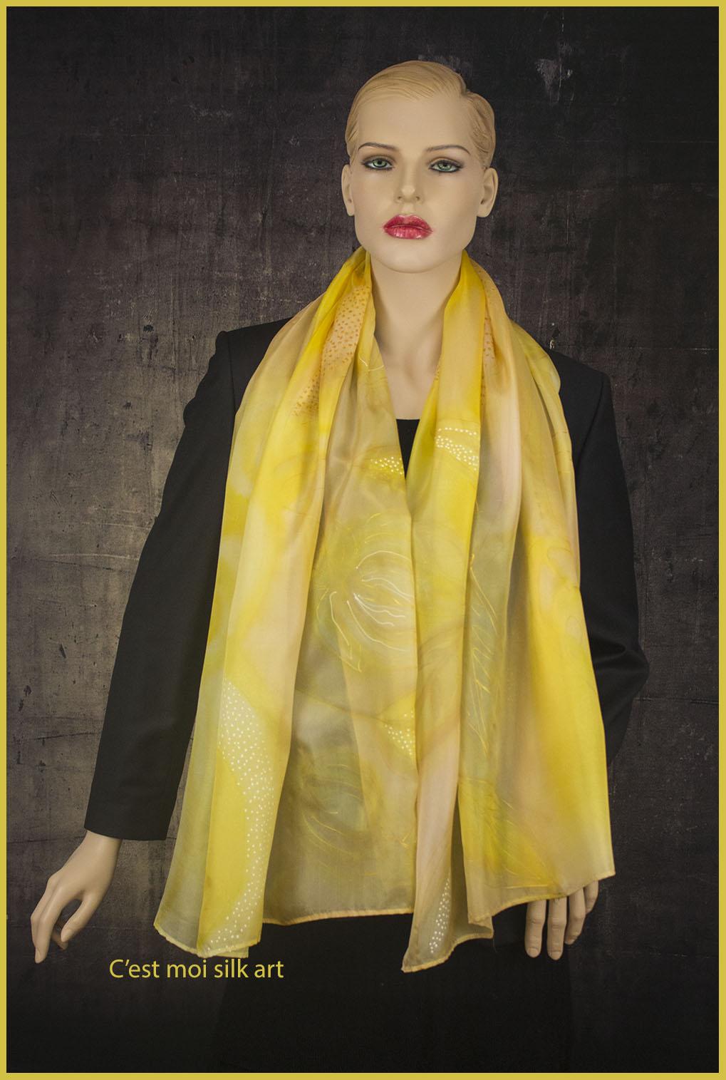 selyem sál sárga spirálokkal 03