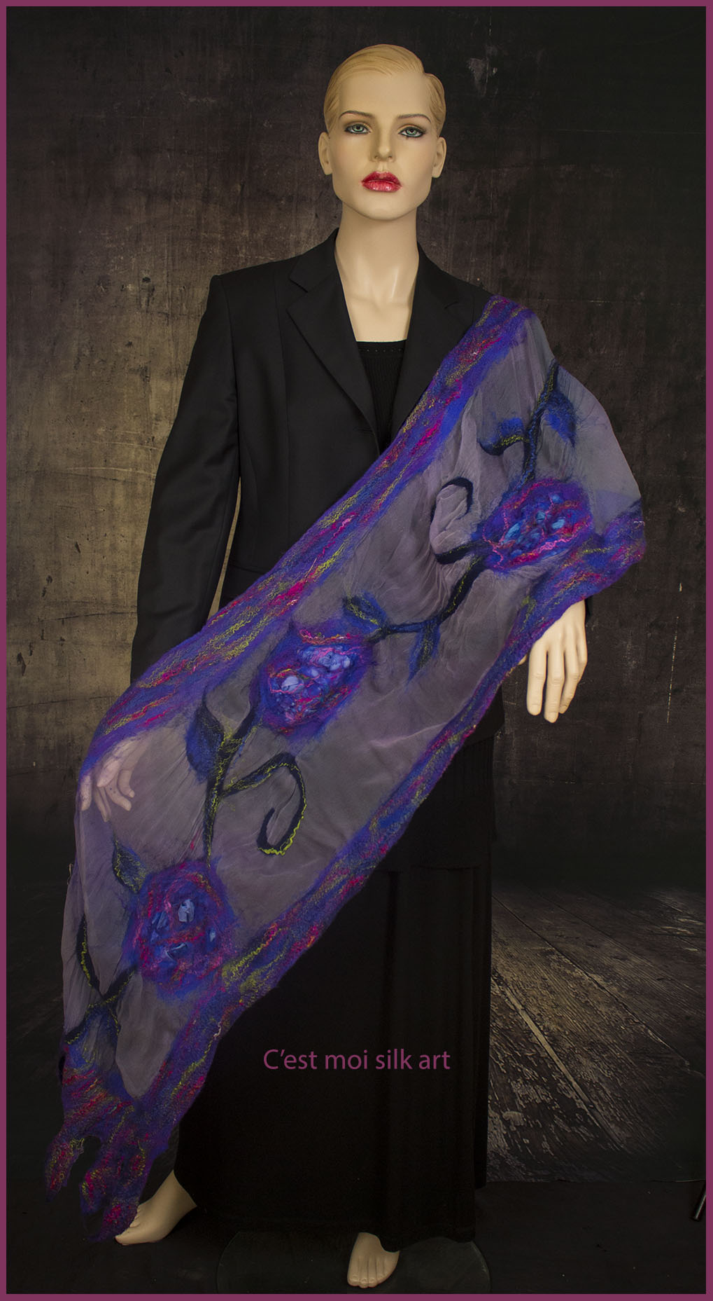 nemezelt selyem muszlin stóla kék és lila rózsák 06
