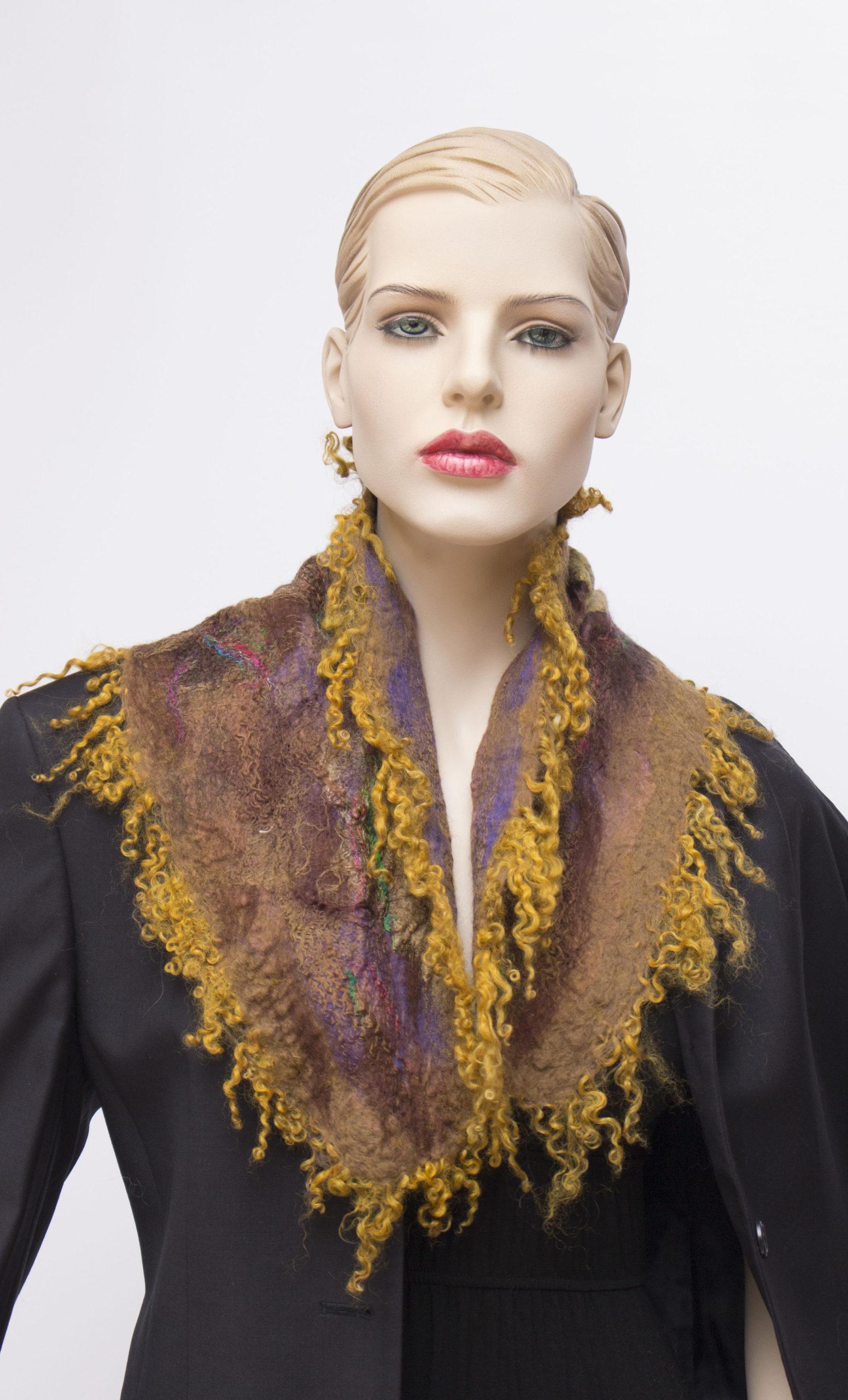 nuno felted silk scarf brown