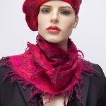 pink felted silk scarf