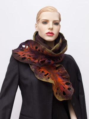 ruffled nuno felted wool scarf
