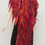 nuno felted silk scarf red