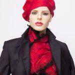 red felted silk scarf