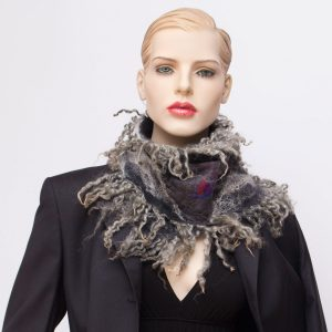 nuno felted silk scarf gray