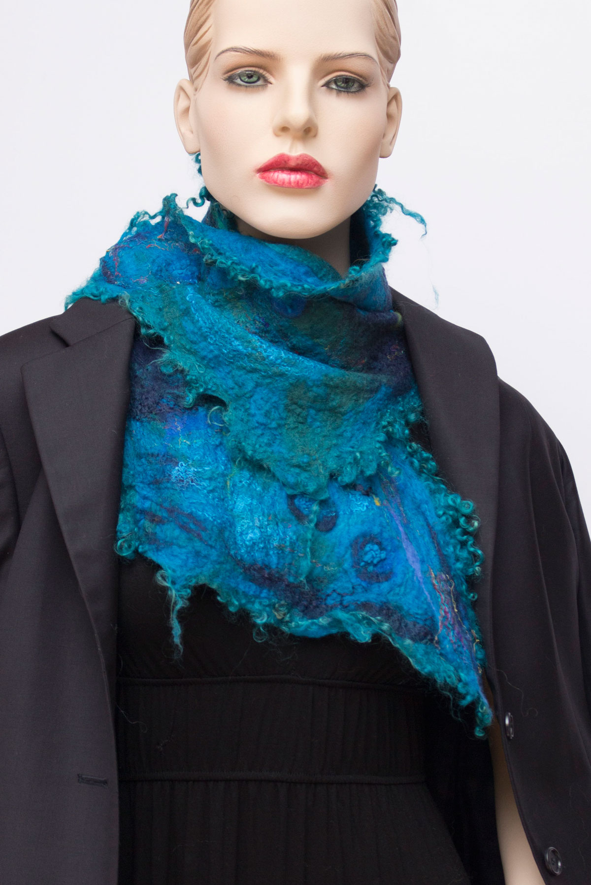 ruffle wool silk scarf