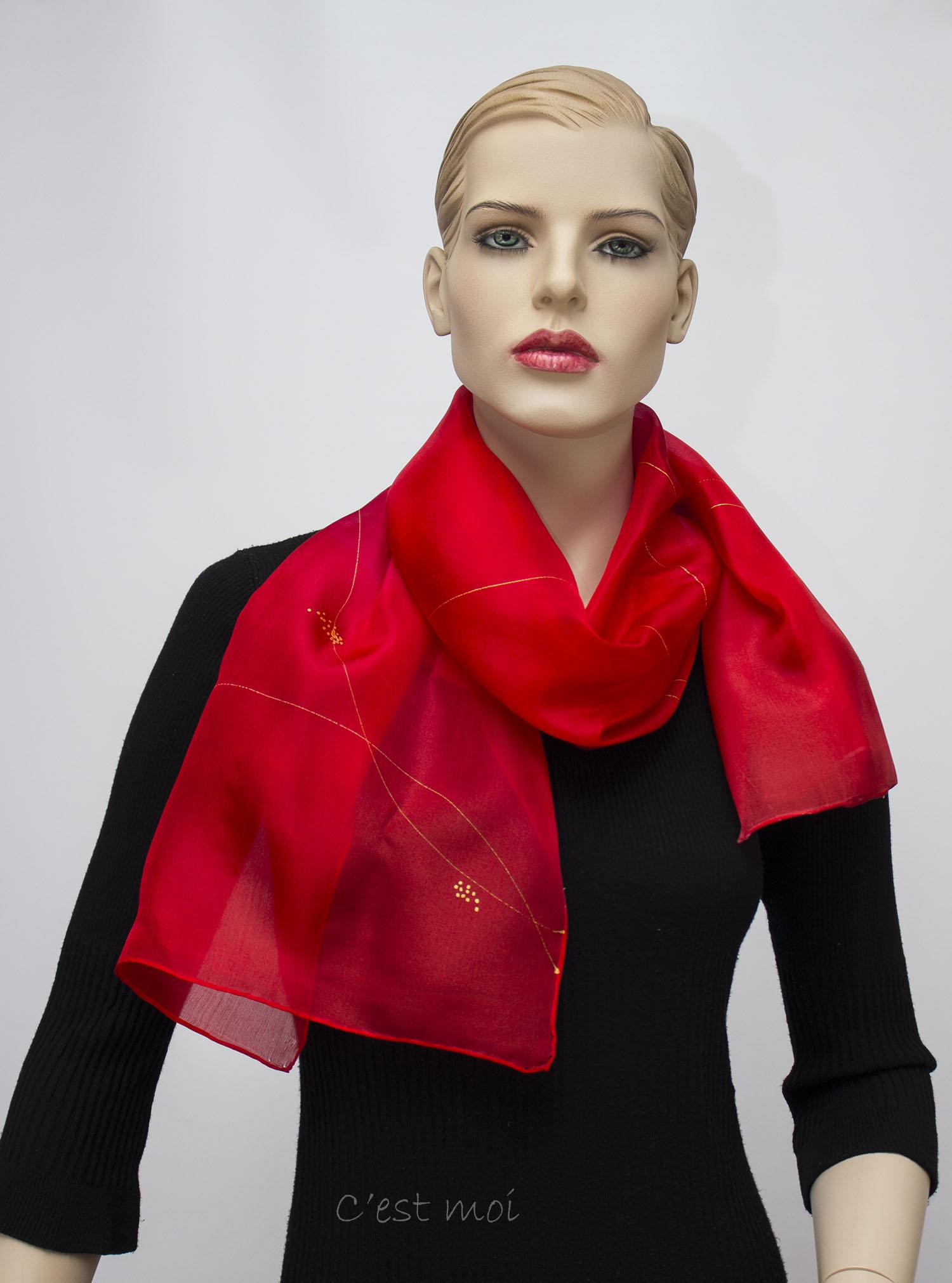 piros színátmenetes selyem sál 02