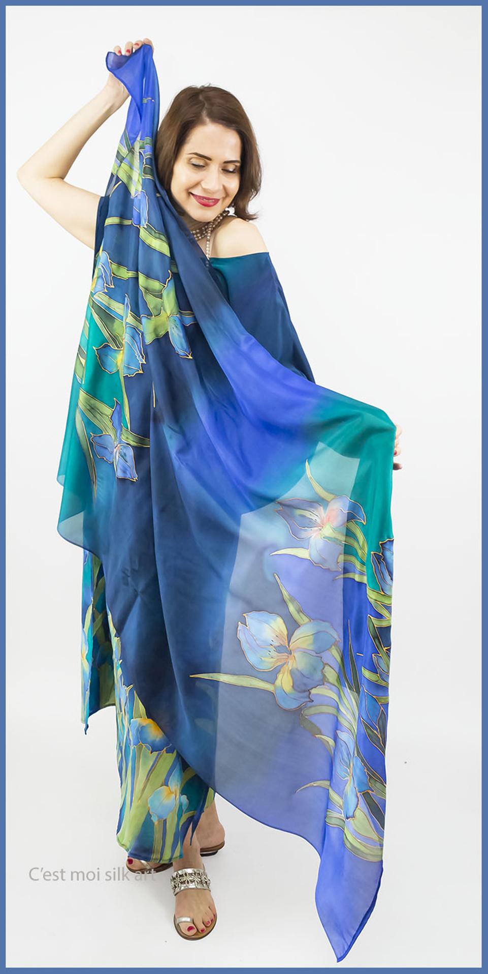 selyem crepe chine ruha kézzel festett kék íriszekkel 008 másolata
