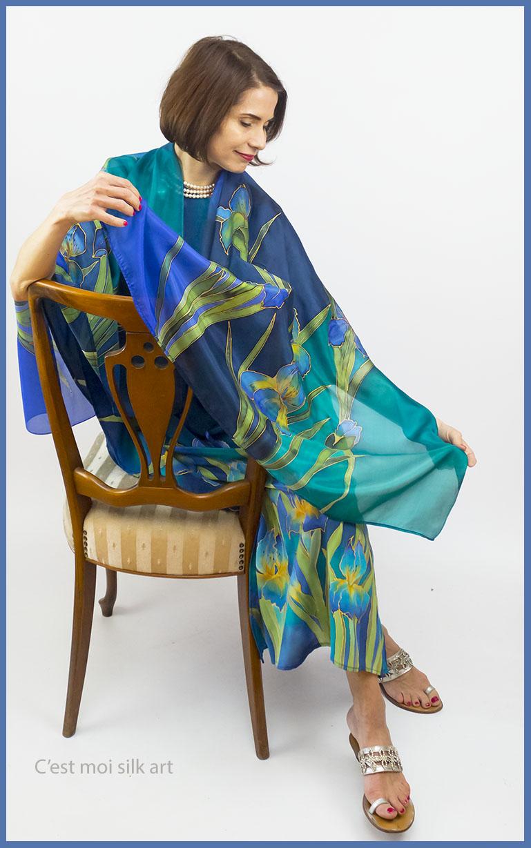 selyem crepe chine ruha kézzel festett kék íriszekkel 02