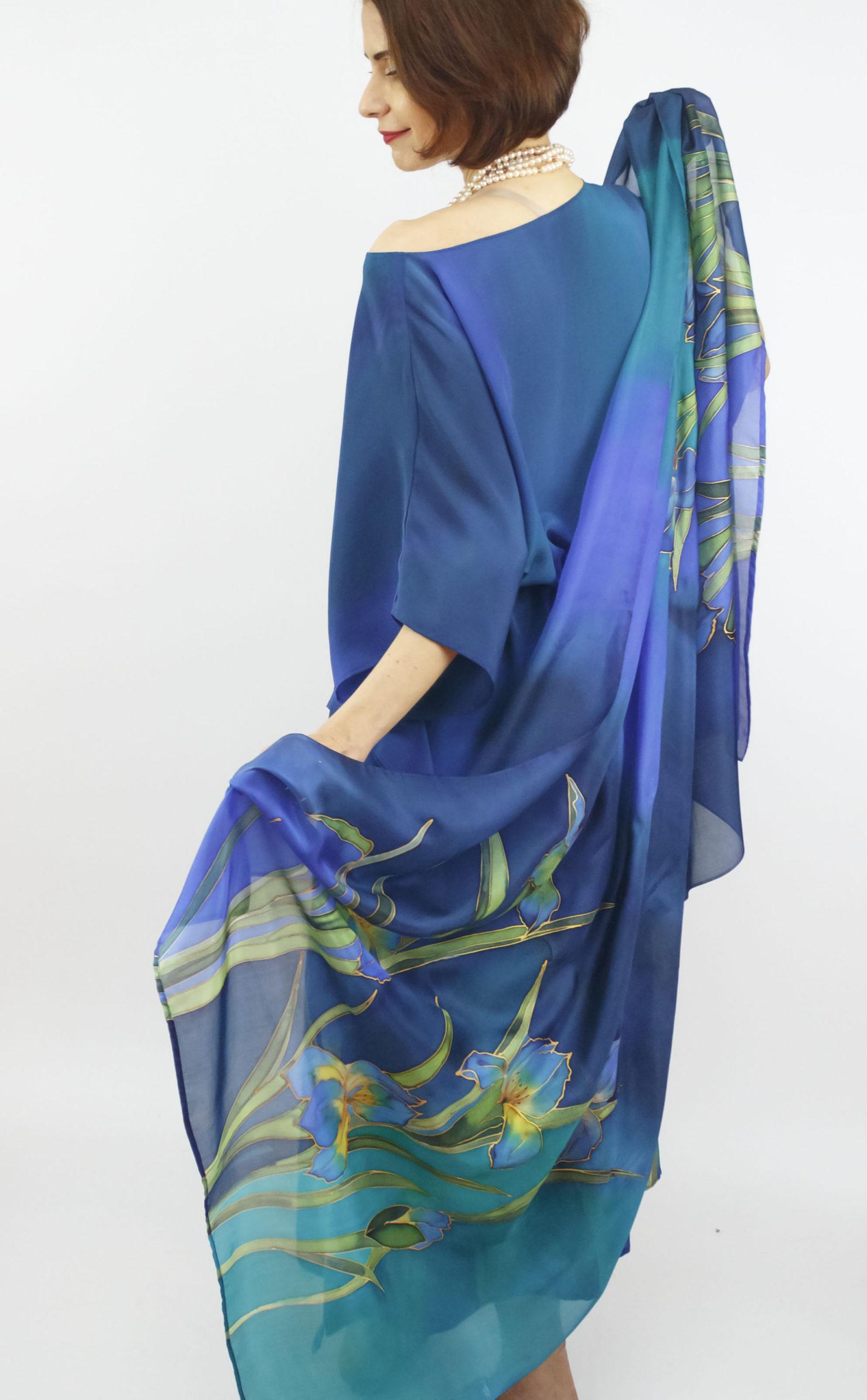 selyem crepe chine ruha kézzel festett kék íriszekkel 03