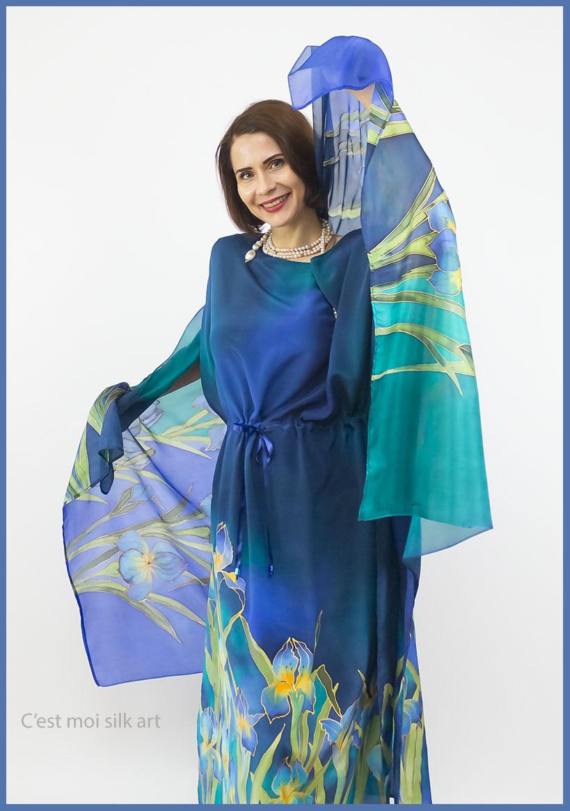 selyem crepe chine ruha kézzel festett kék íriszekkel 09