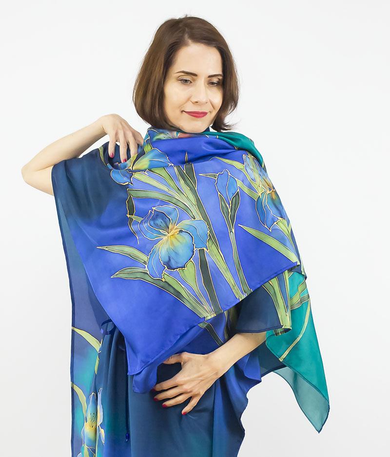 selyem crepe chine ruha kézzel festett kék íriszekkel 10
