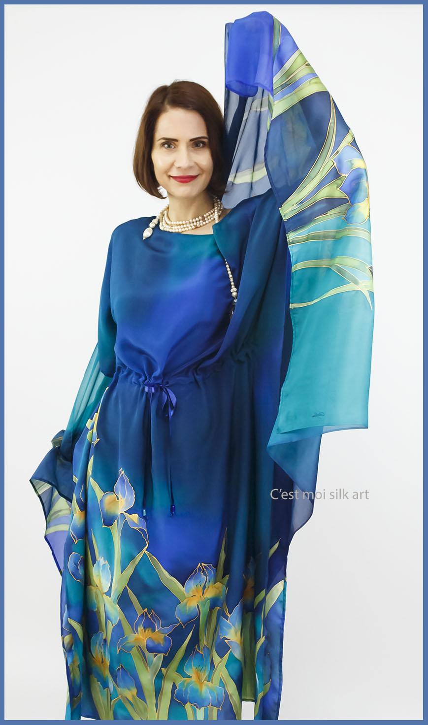 selyem crepe chine ruha kézzel festett kék íriszekkel 13