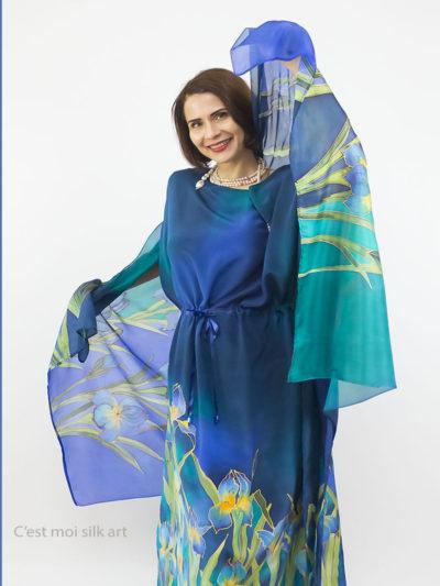 selyem crepe chine ruha kézzel festett kék íriszekkel nyitó 13