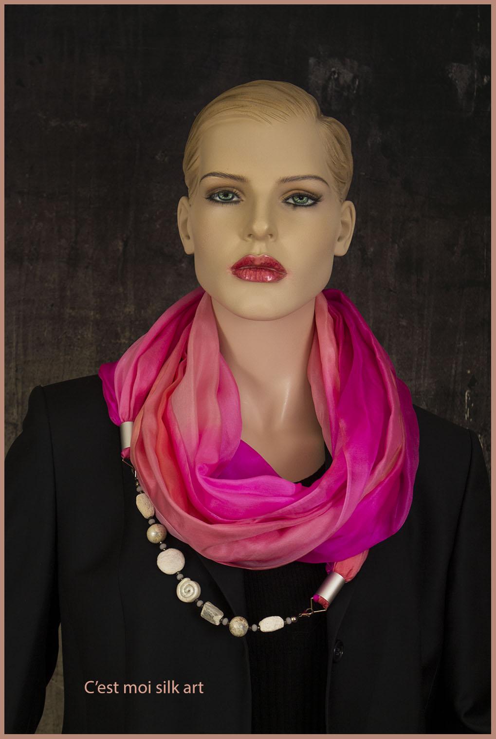 selyem kőrsál ékszerrel díszítve rózsaszín 01