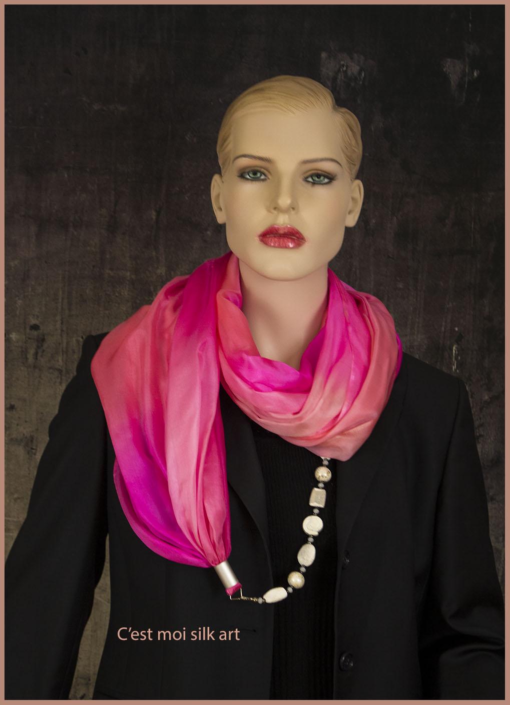 selyem kőrsál ékszerrel díszítve rózsaszín 03