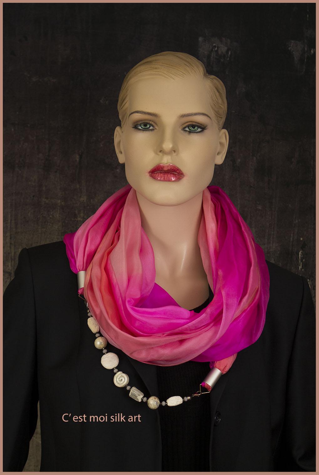 selyem kőrsál ékszerrel díszítve rózsaszín 05