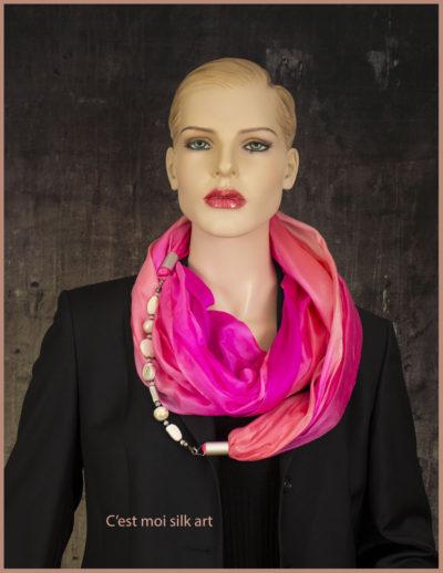 selyem kőrsál ékszerrel díszítve rózsaszín 06