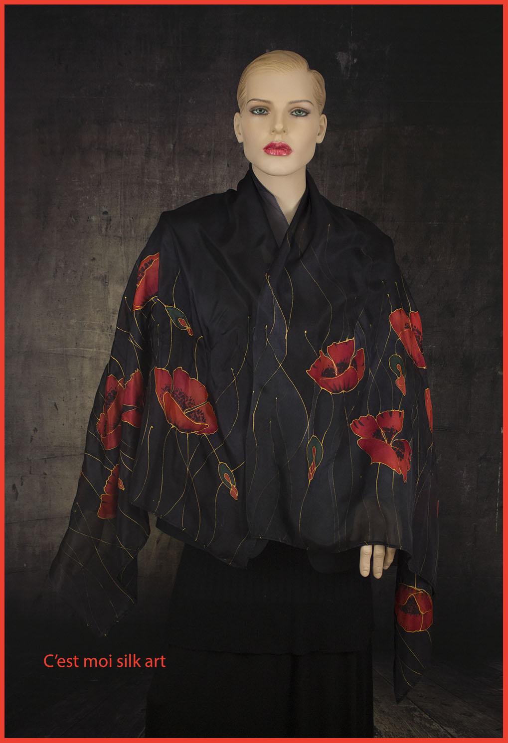 selyem sál fekete piros pipacsokkal 03