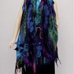 nuno felted silk scarf blue