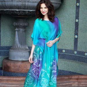 hand painted silk dress , long skirt