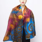 silk satin hand painted scarf