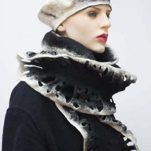 ruffle black felted wool scarf