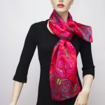 red roses hand painted mulberry silk scarf