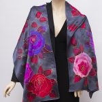 hand painted silk satin scarf roses