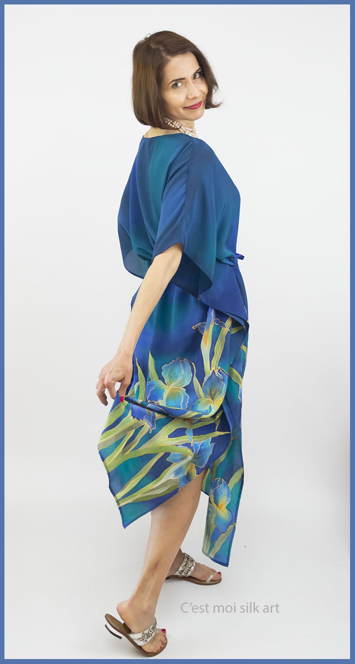 blue hand painted silk dress