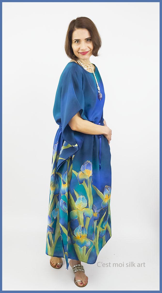 selyem crepe chine ruha kézzel festett kék íriszekkel 05