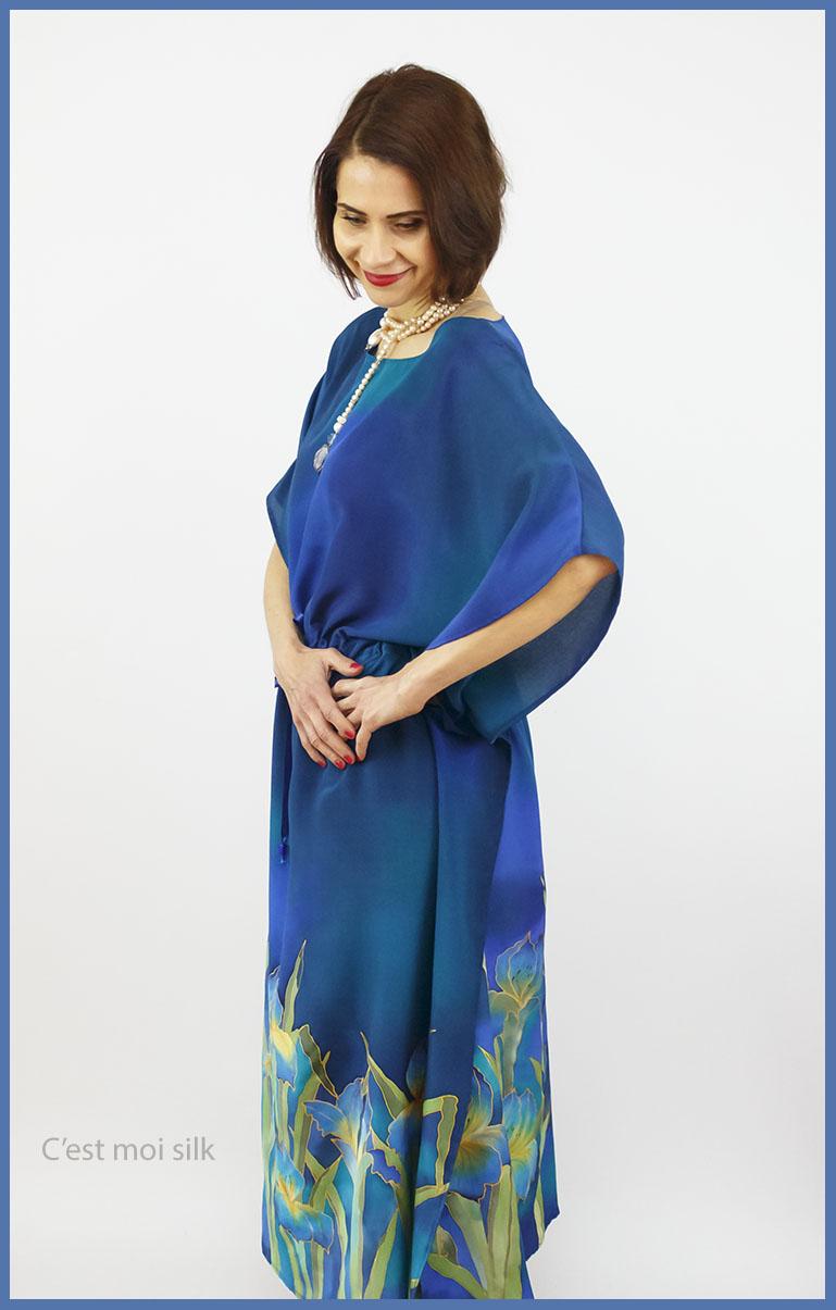selyem crepe chine ruha kézzel festett kék íriszekkel 06