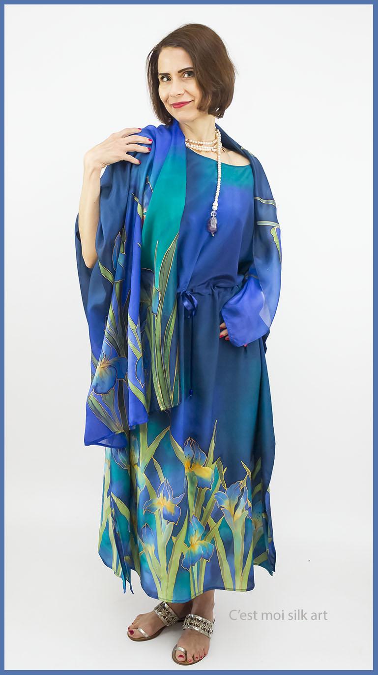 selyem crepe chine ruha kézzel festett kék íriszekkel 11