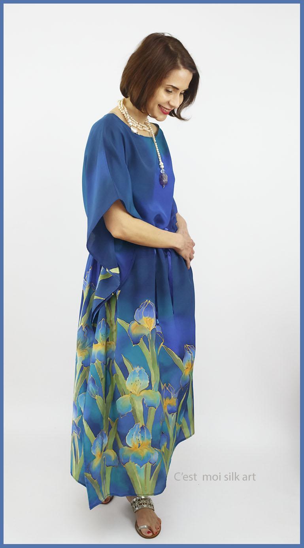selyem crepe chine ruha kézzel festett kék íriszekkel 14