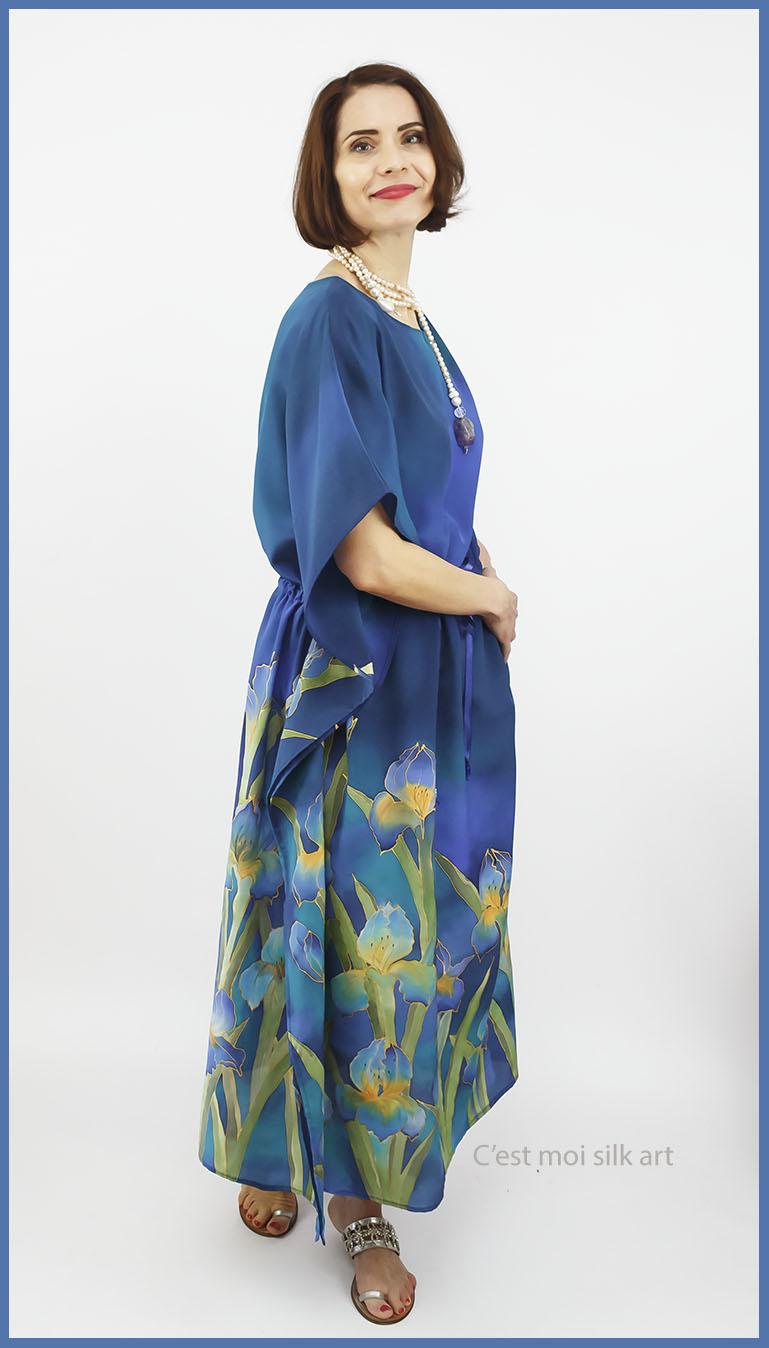 selyem crepe chine ruha kézzel festett kék íriszekkel 15