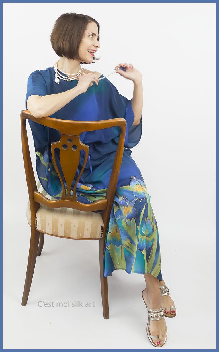 selyem crepe chine ruha kézzel festett kék íriszekkel 16