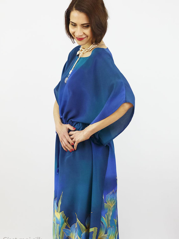 selyem crepe chine ruha kézzel festett kék íriszekkel006