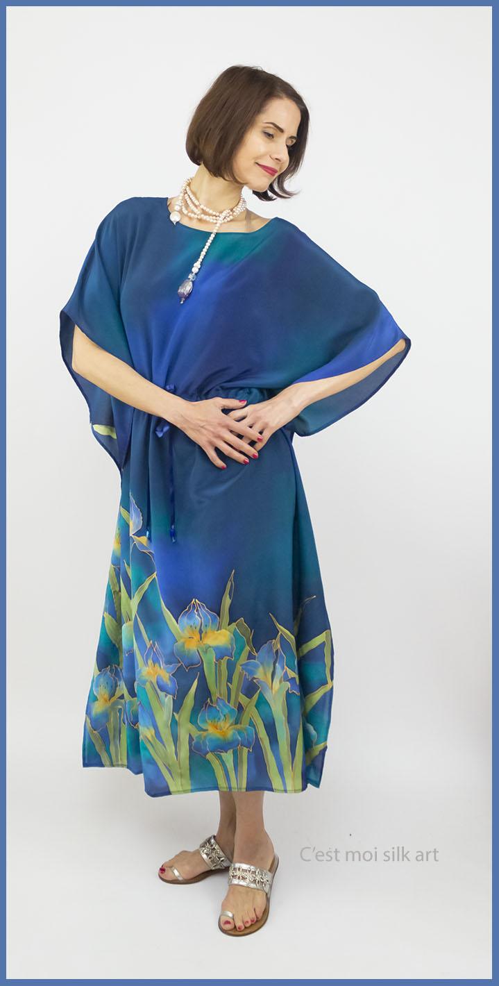 selyem crepe chine selyem ruha kék íriszekkel 01