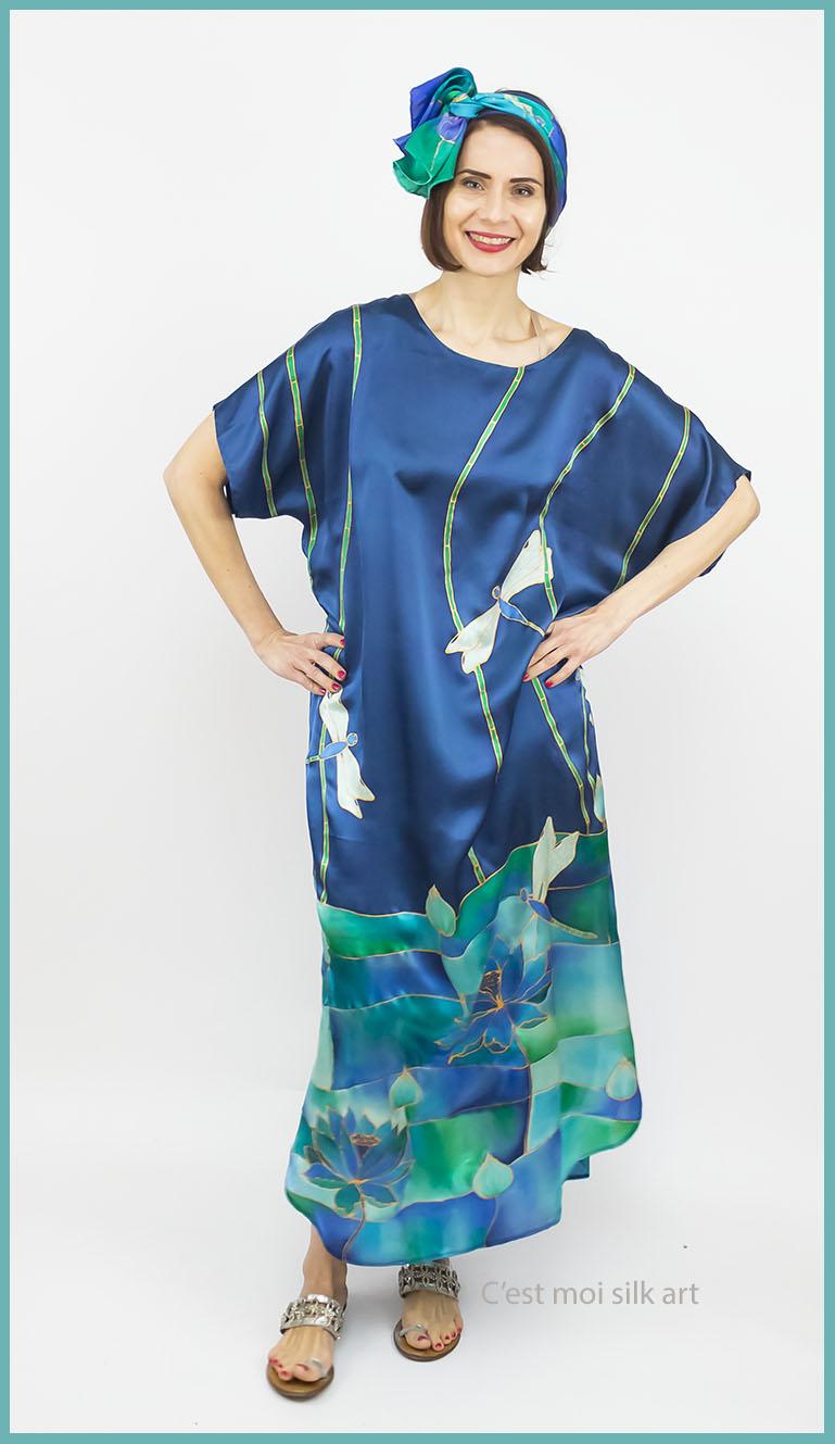 selyem szatén ruha szitakötőkkel 06