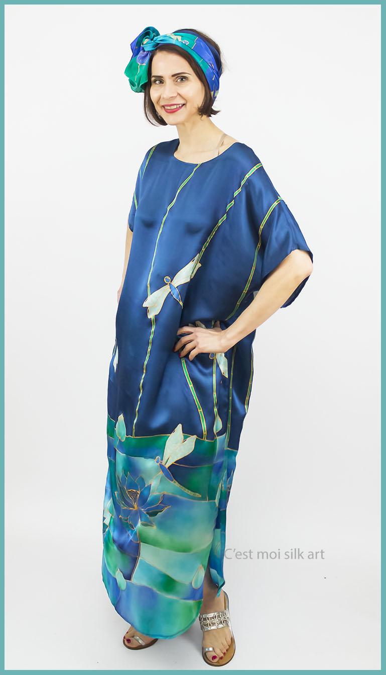 selyem szatén ruha szitakötőkkel 10