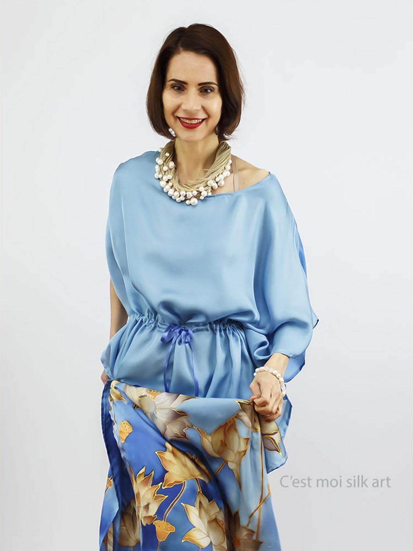 selyem ruha kézzel festett kék lótuszokkal 007