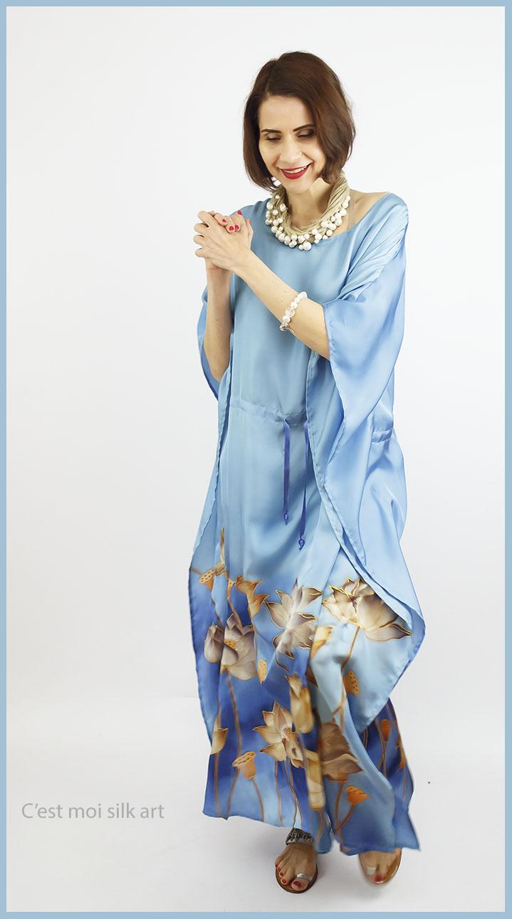 selyem ruha kézzel festett kék lótuszokkal 01