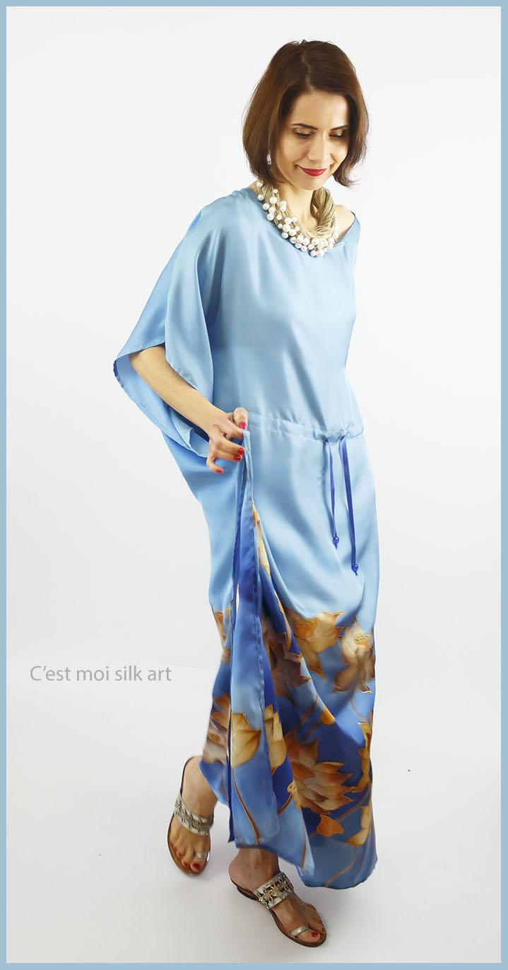 selyem ruha kézzel festett kék lótuszokkal 02