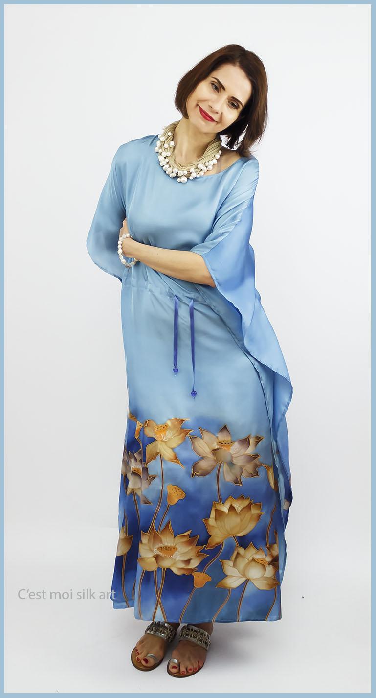 selyem ruha kézzel festett kék lótuszokkal 03