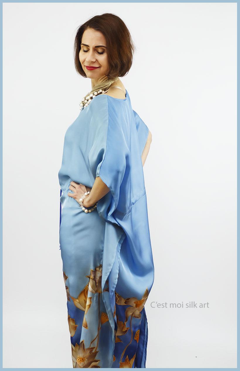 selyem ruha kézzel festett kék lótuszokkal 04