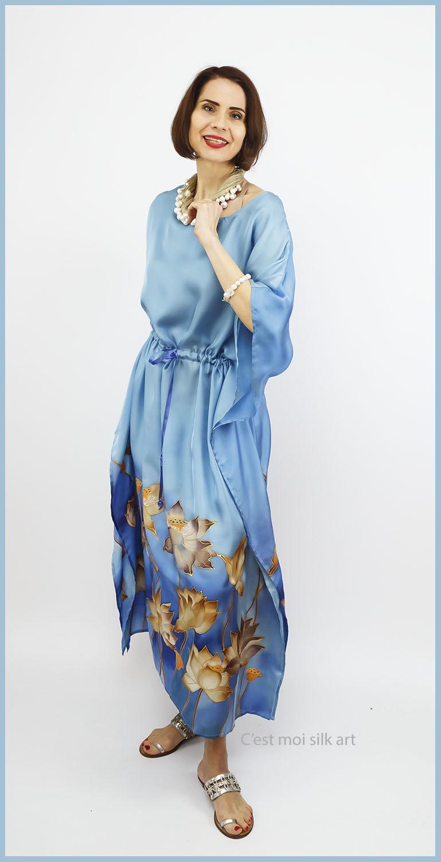 selyem ruha kézzel festett kék lótuszokkal 06