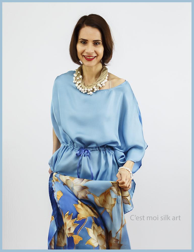 selyem ruha kézzel festett kék lótuszokkal 07
